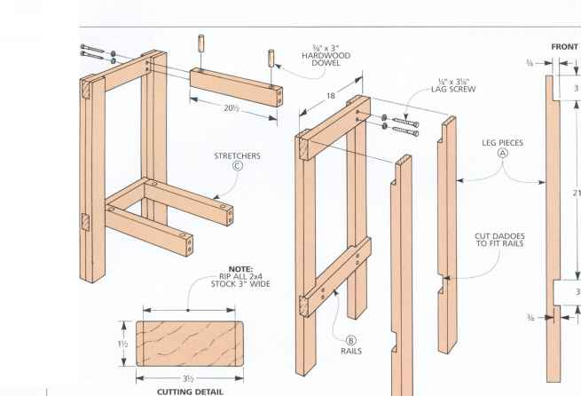 Exploded View Woodworking Bench