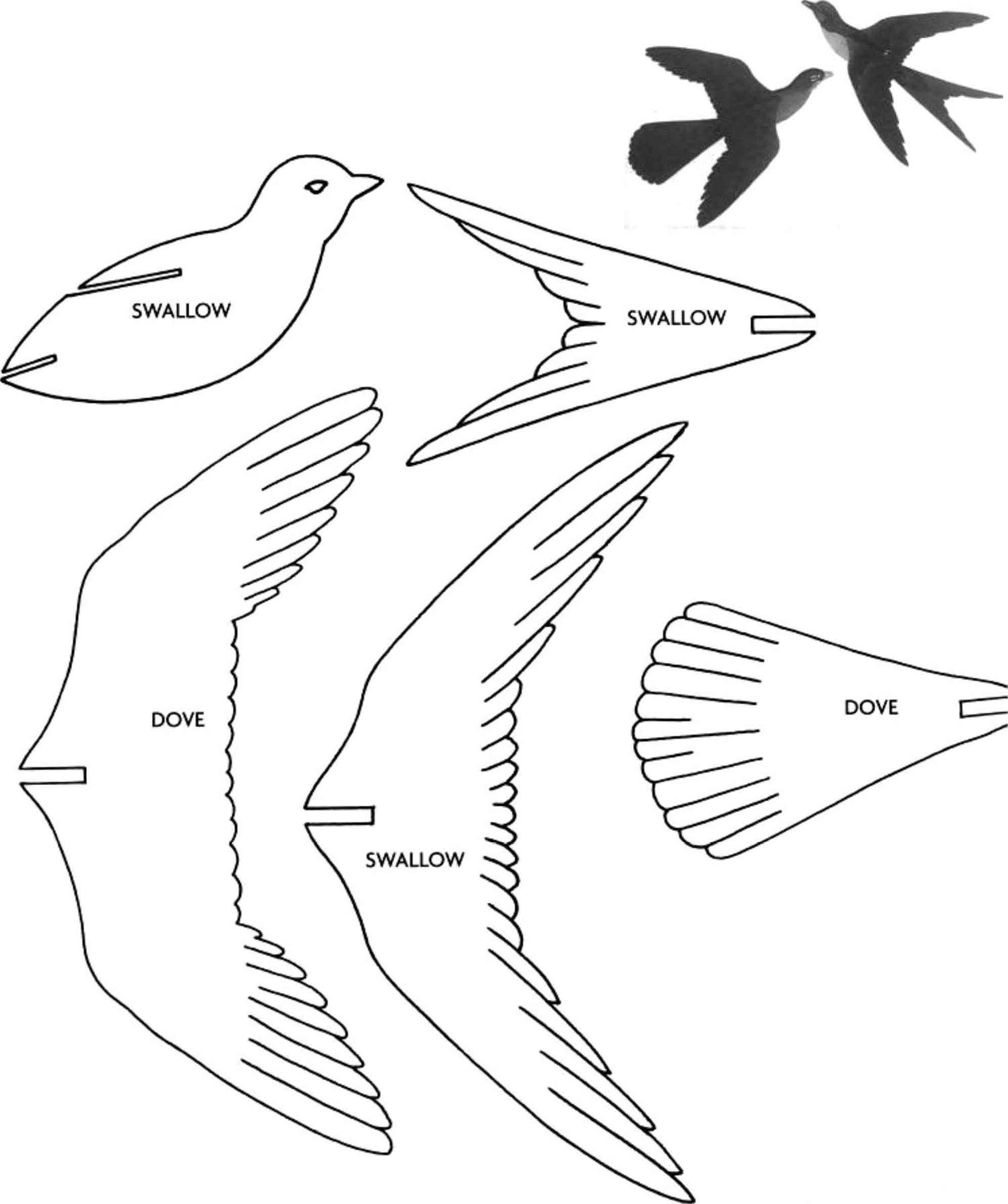 balancing bird template - decorative birds scroll saw woodworking archive