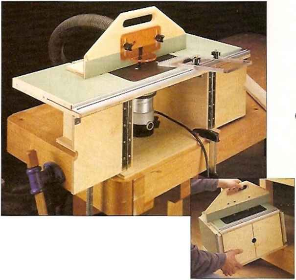 This compact router table has a large top with wings that Building design tool
