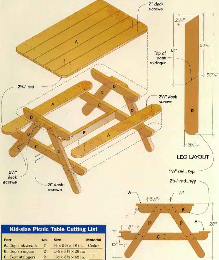 Kid Size Picnic Table Technical Drawing Picknick Bench