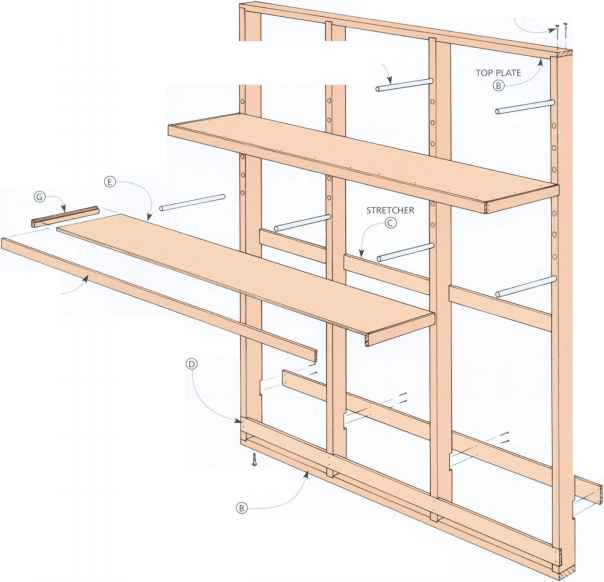 Vertical lumber storage rack plans lovequilts for Vertical lumber storage rack